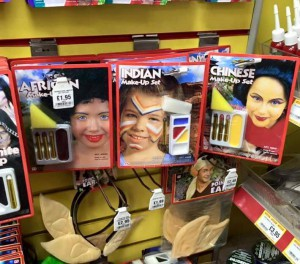 Image of racist 'costumes' on sale: 'African', 'Indian' and 'Chinese' (from left to right).