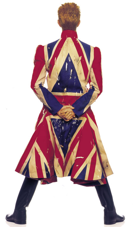 Image by Frank W Ockenfels (original photography for Earthling album cover (1997)) Union Jack coat designed by Alexander McQueen.