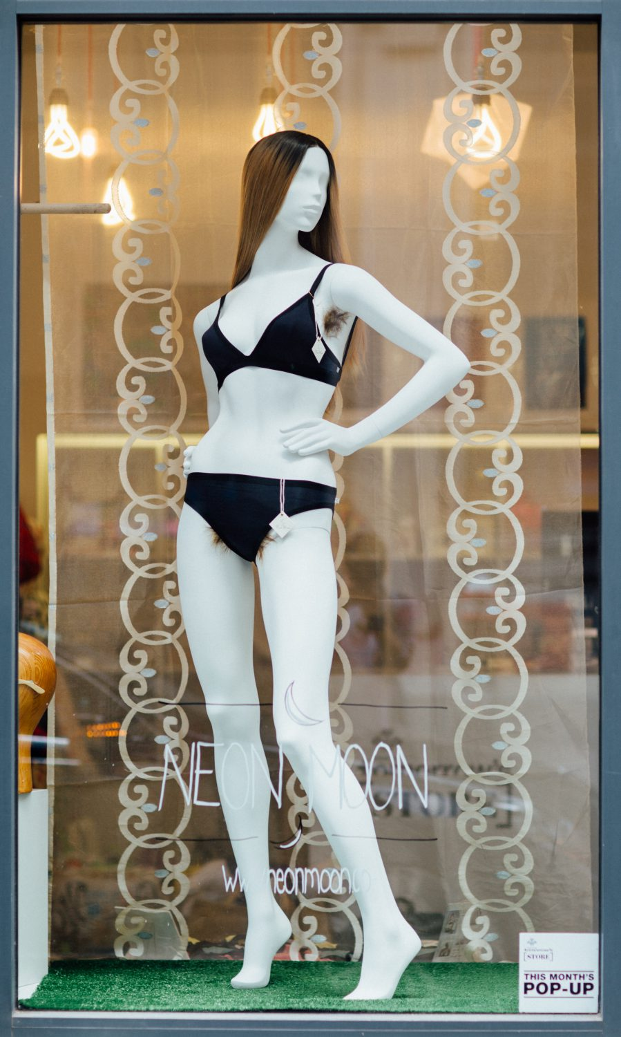 Neon Moon Feminist Lingerie Pop Up Body Positive Hairy Mannequin 1