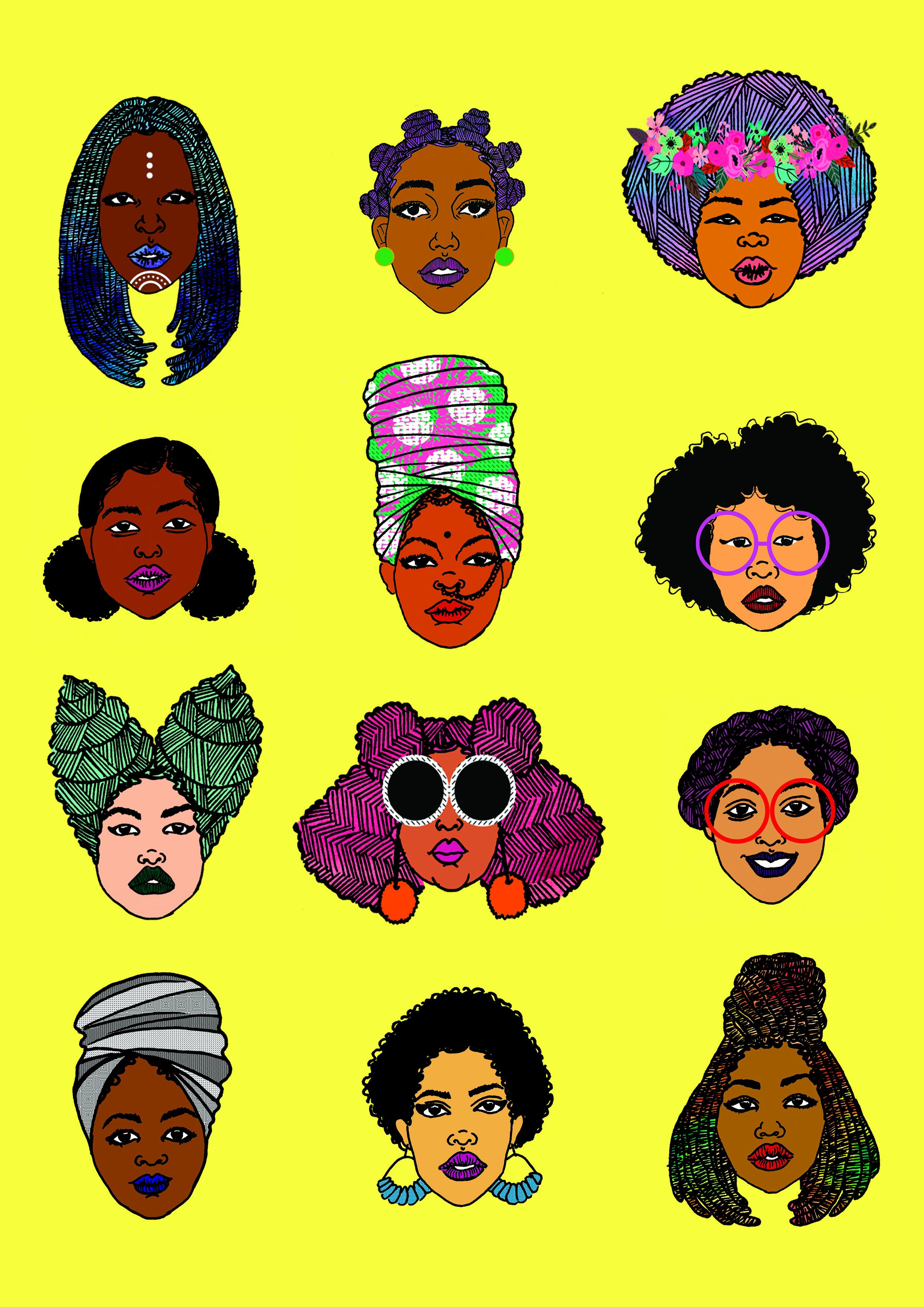 black-hair-magic-art-print