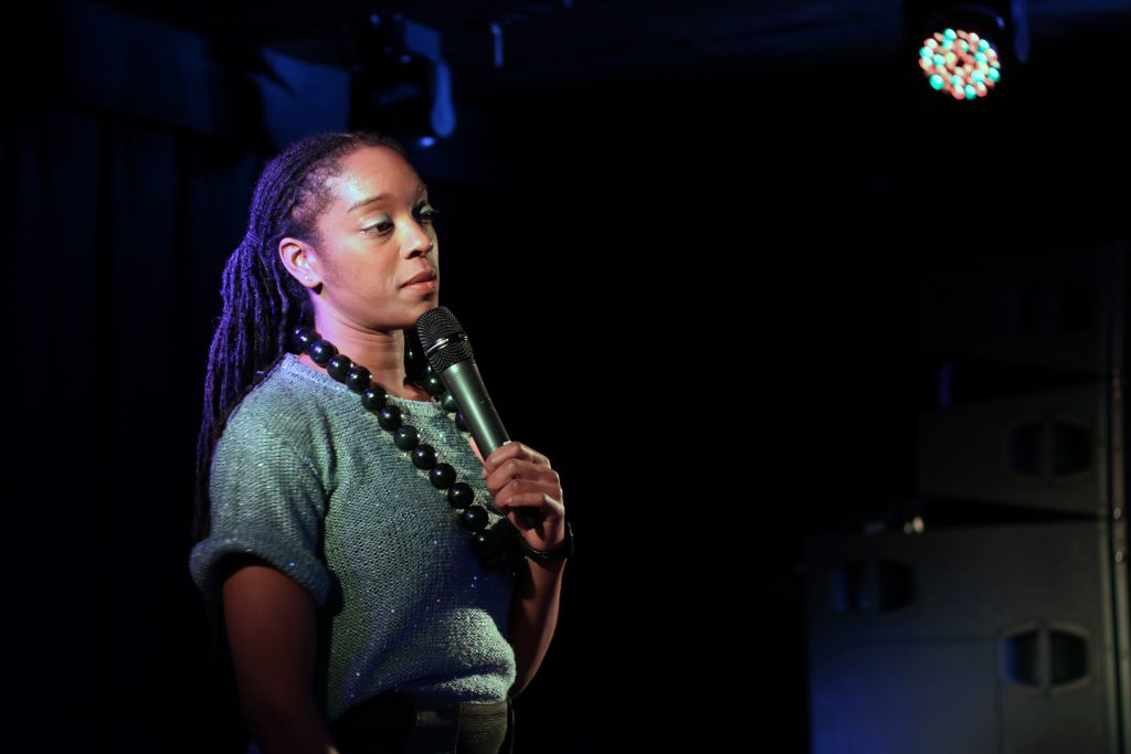 Athena Kugblenu @ gal-dem WoC Comedy Night. Photo Credit: Daisy Ifama