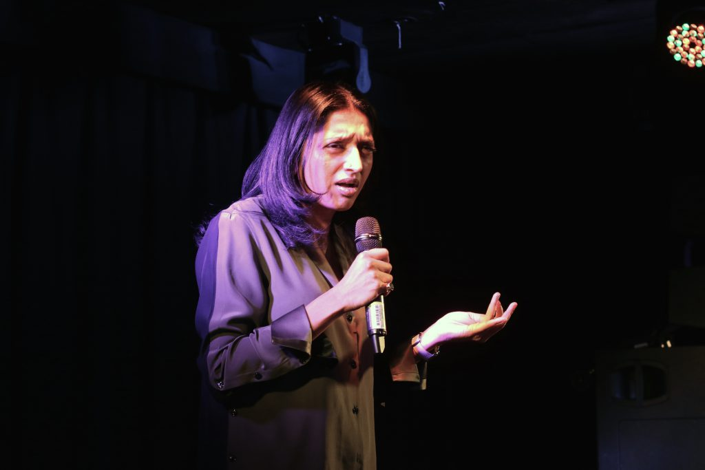 Sindhu Vee @ gal-dem WoC Comedy Night. Photo Credit: Daisy Ifama