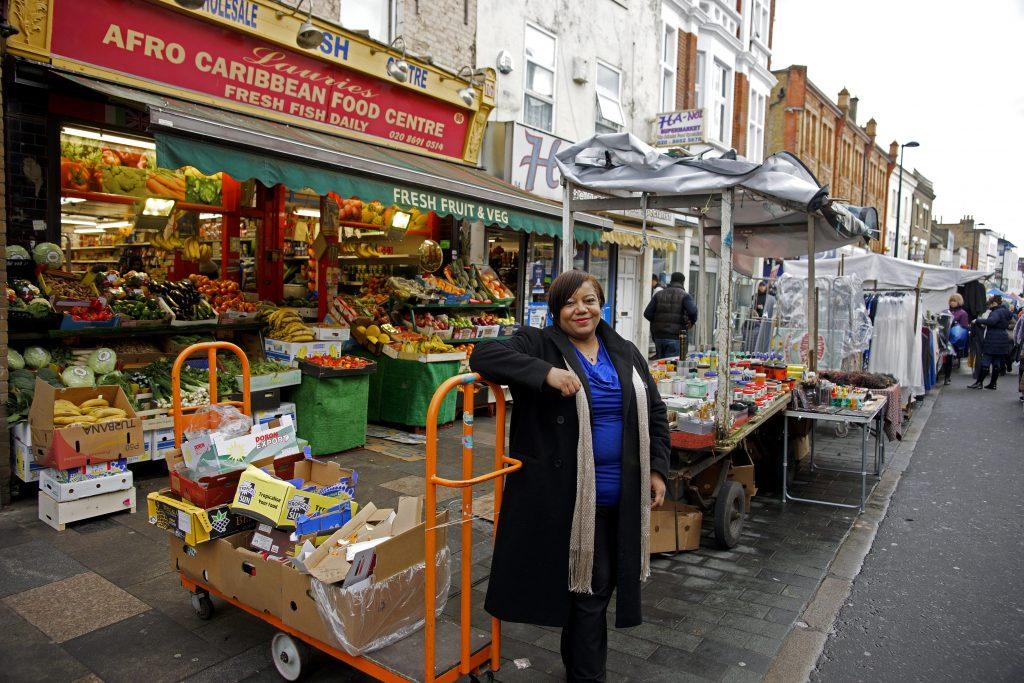 Brenda Dacres in a market