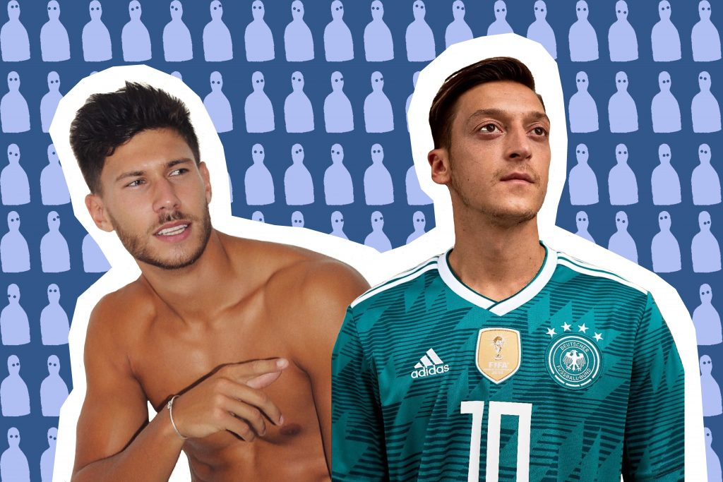 A collage of Black Jack from Love Island with Arsenal player Mesut Özil
