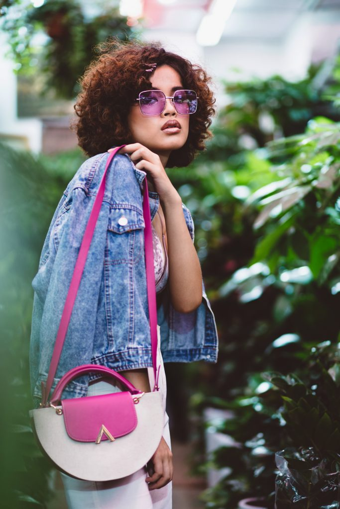 ESEMBLE AW18 Demi Moon Bag in Canvas-Fuschia