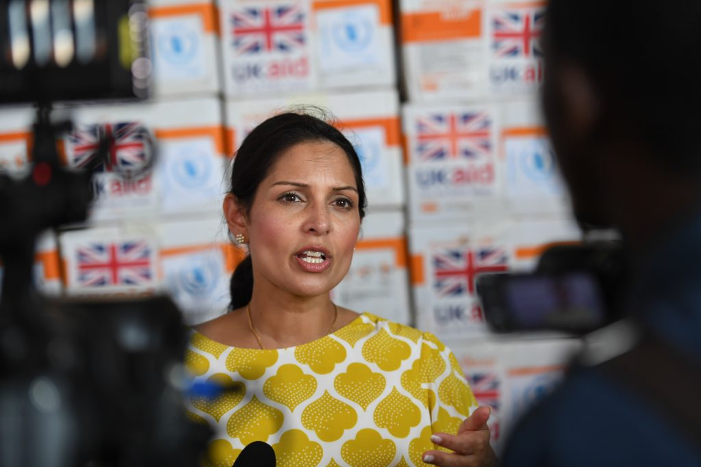 Priti Patel, the UK Secretary of State for International Development addresses journalists during her visit to Somalia on June 17, 2017. UN Photo / Ilyas Ahmed
