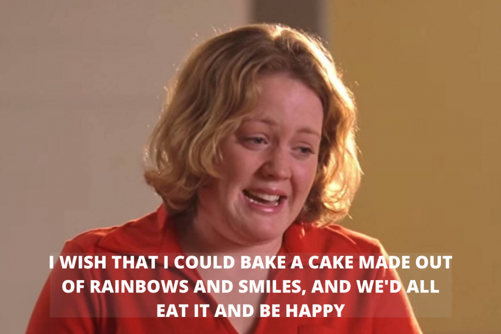 A still from Mean Girls in which states she wishes they could all eat cakes and be happy