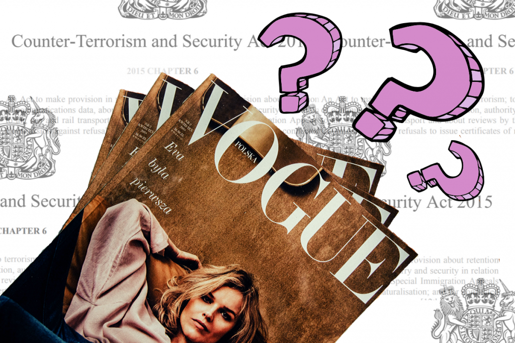 A copy of vogue magazine with question marks hovering over it