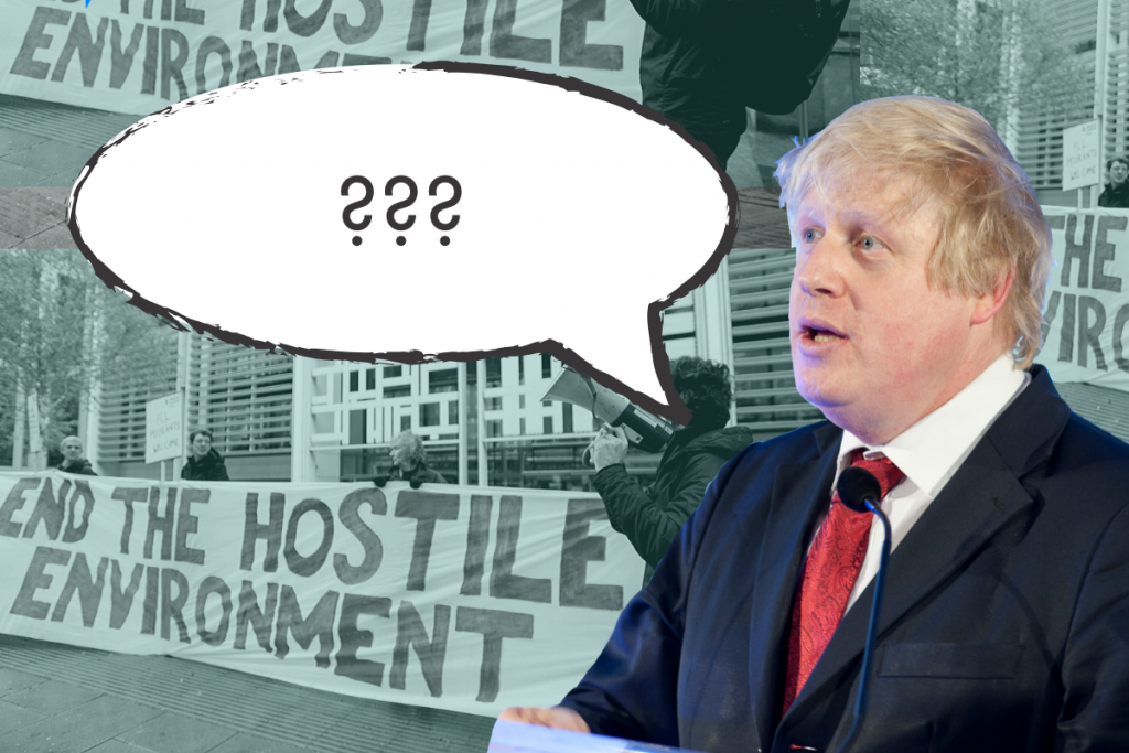 A speech bubble emitting from Boris Johnson has question marks in it, in front of a backdrop showing demonstrations against the hostile environment