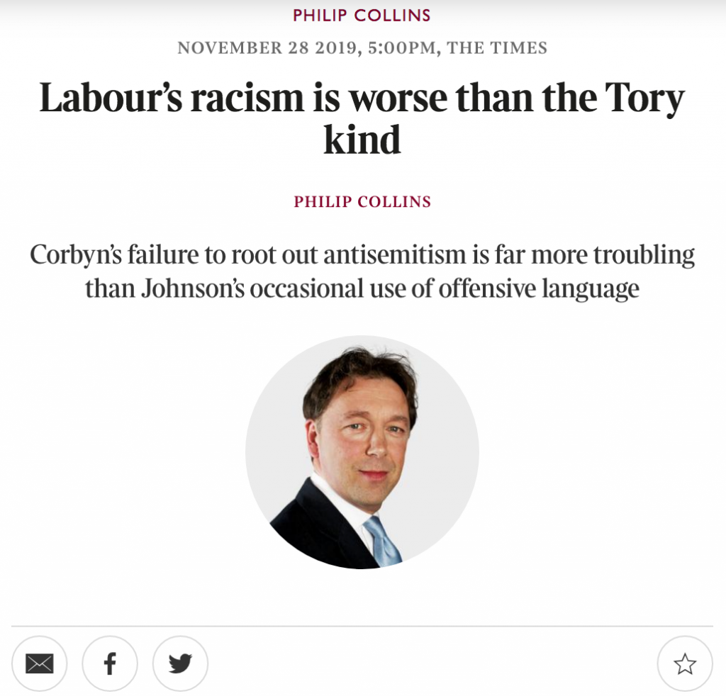 screenshot of The Times article titled 'Labour's racism is worse than the Tory kind'