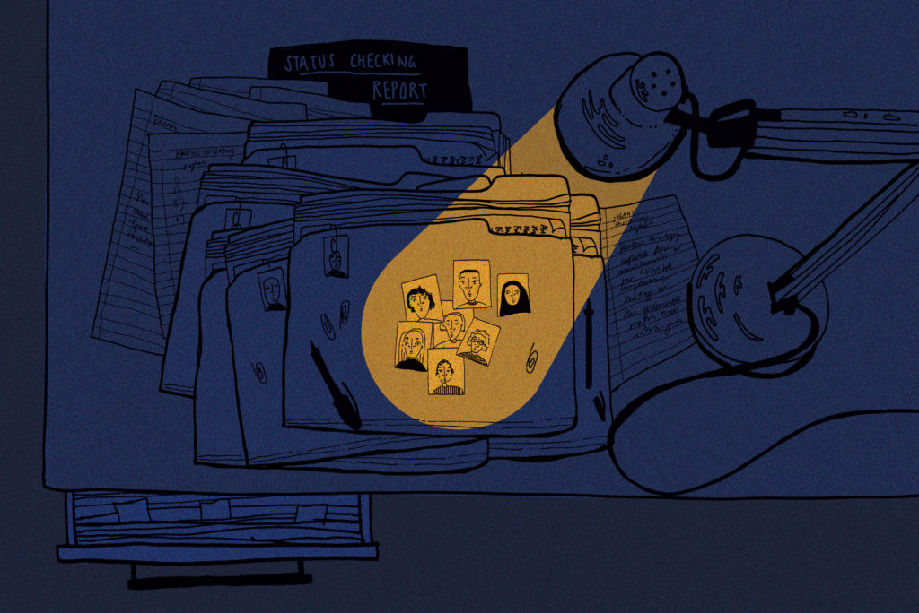 An illustration of a light shining on a file with people's photos in