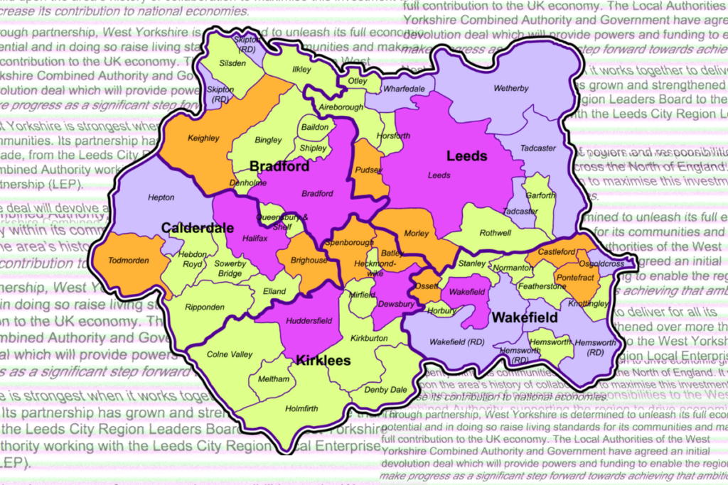 A colourful map of West Yorkshire