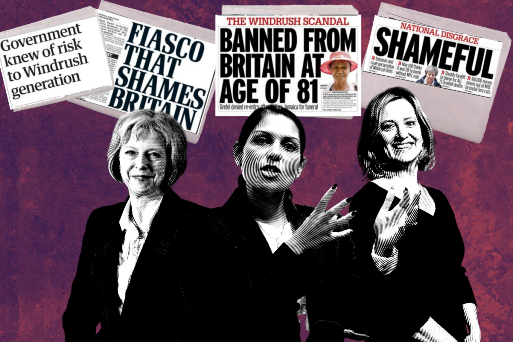 Race Review 20th March graphic showing Theresa May, Priti Patel, and Amber Rudd