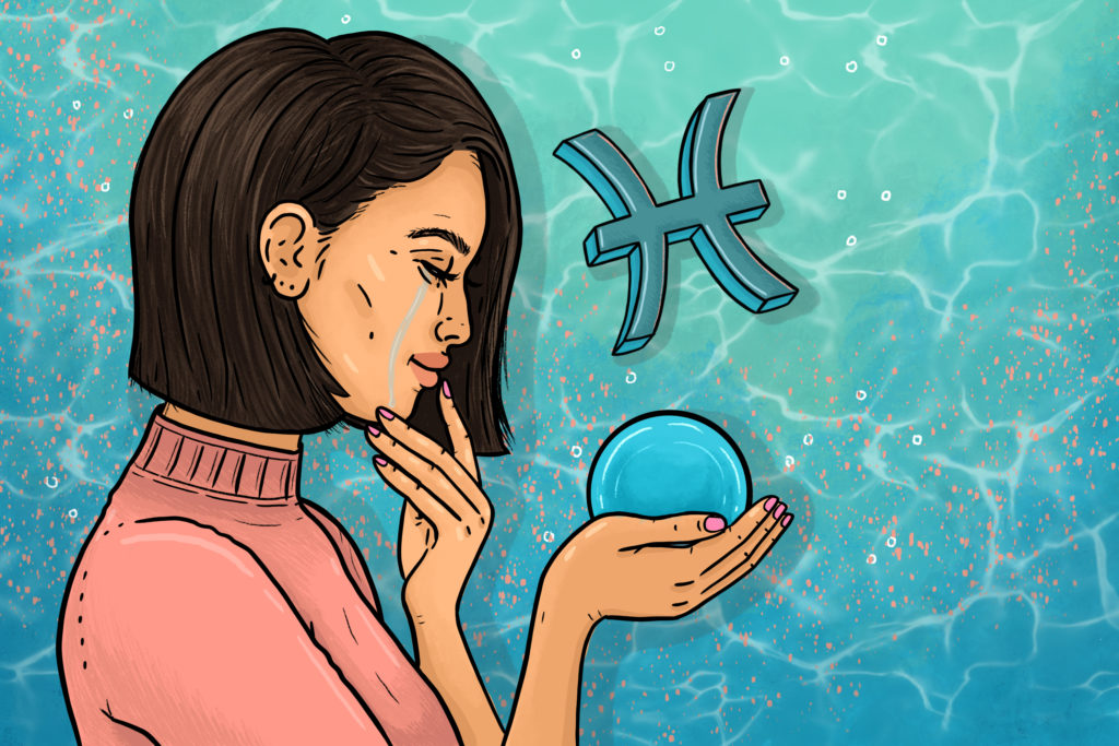 Illustration by Nadia Akingbule of womxn holding glass orb and crying next to the Pisces symbol