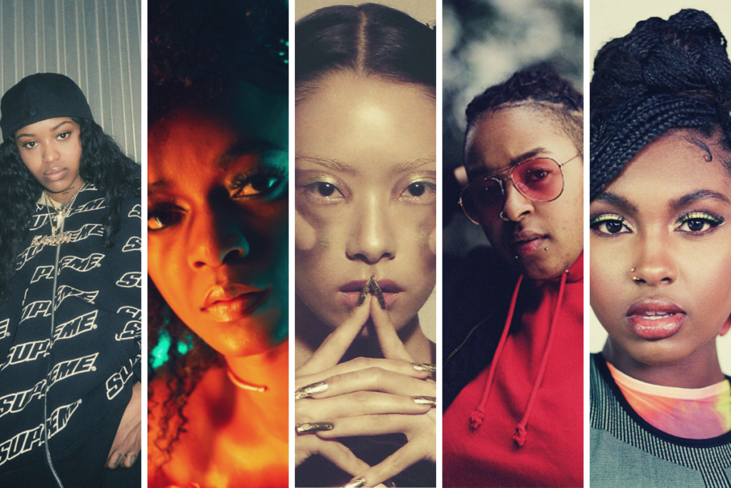five on it composite image featuring rina sawayama, tiana major9, bamz, kaash paige, lila iké