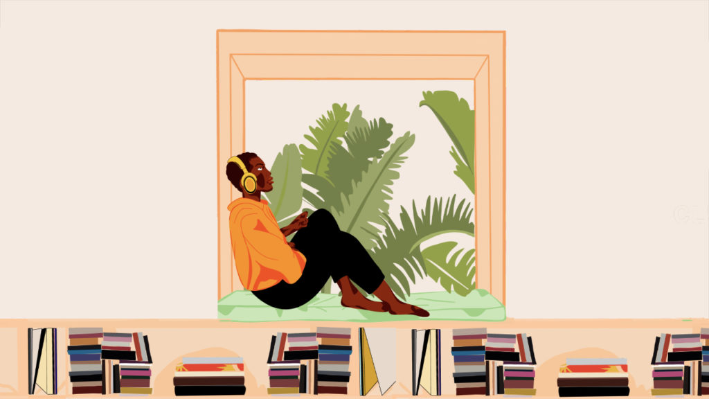 Listen-Up-audiobook-club-black-person-sitting-amongst-books