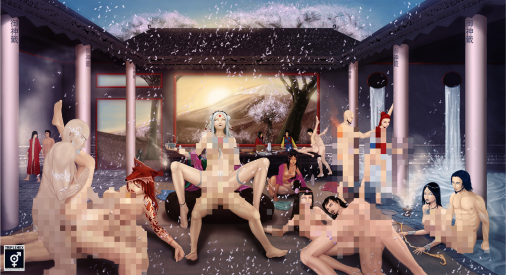 A pixellated hentai orgy scene