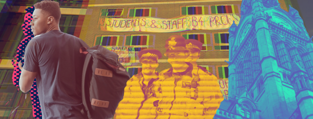 Image shows collage of a student, Manchester University campus and police officers