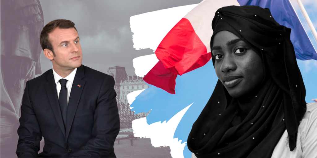 A picture showing Emmanuel Macron and a young Black girl wearing a hijab against the backdrop of the French flag and the Louvre