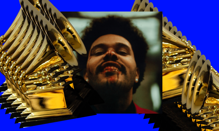 An image of the artwork for the Weeknd's album After Hours, which was snubbed from this year's Grammy nominations. Abel Tesfaye is grinning at the camera with blood dripping out of his mouth. This album artwork is superimposed on a blue background, and framed by many layers of images of a gold coloured Grammy award. It is to reflect that Five on it this week is about the Weekend being snubbed at the Grammys.