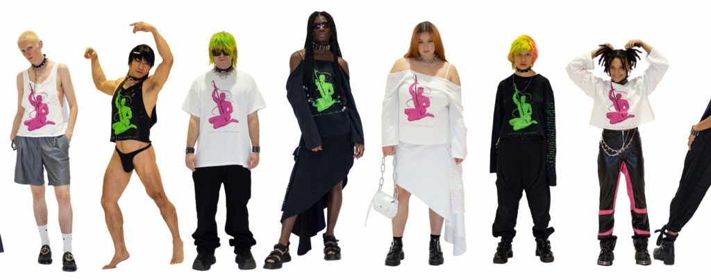 A close up of a line up of people including queer creators all wearing Malik's debut collection