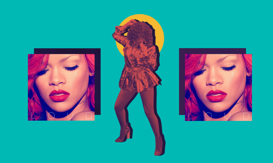 A turquoise background and three images of Rihanna, all from her Loud album era