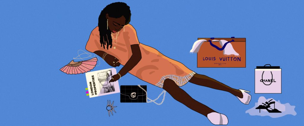 Image show Black woman surrounded by luxury bags like Chanel and Hermes, flicking through a property magazine
