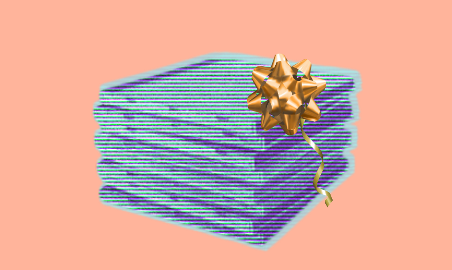 A stack of CD cases that are pale blue against a peach background. The CDs – or albums – have a gold bow and small gold ribbon on them, so they look like a gift.