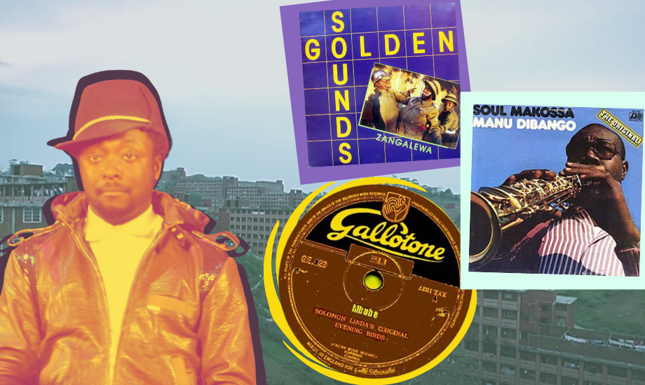 The background of this image is a still from South African artist DJ Lag's video for Ice Drop, showing a cityscape of Durban. Super-imposed over the top is a duotone orange and yellow image of American artist will.i.am, plus cut outs of three music records: Golden Sounds' Zangalewa, Solomon Linda's Mbube and Manu Dibango's Soul Makossa.