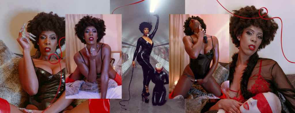 The header image for this by dominatrix Madam Storm shows 5 overlapping photographs of Madam Storm, a black woman, wearing her hair in a natural short afro, in various poses wearing lingerie and latex outfits. In some photographs she is holding Lelo sex toys seductively, in others she is posing with a submissive person also in latex fetish clothing. Some of the photographs are taken on London underground, some are taken in a bedroom setting.