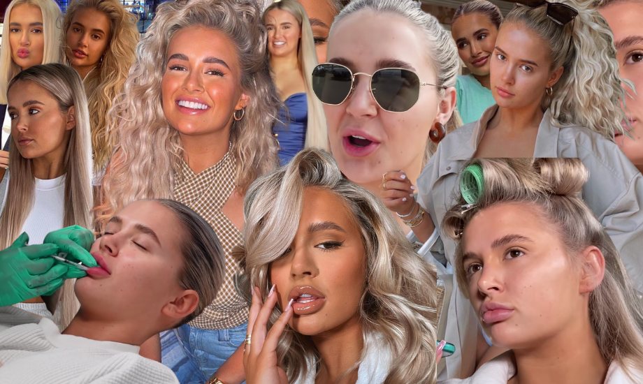 Image shows a collage of pictures of influencer Molly Mae Hague