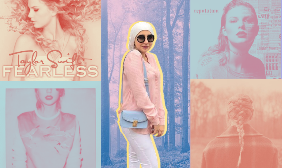 A photograph of article author Anmol Irfan, dressd in pastel colours with a yellow outline around her. She is superimposed against pastel duotone versions of various Taylor Swift albums – Flawless, 1989, Folklore, Reputation and Evermore.