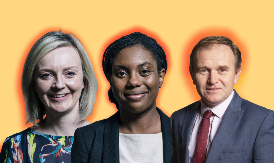 Image shows, left to right, Tory MPs Liz Truss, Kemi Badenoch and George Eustice