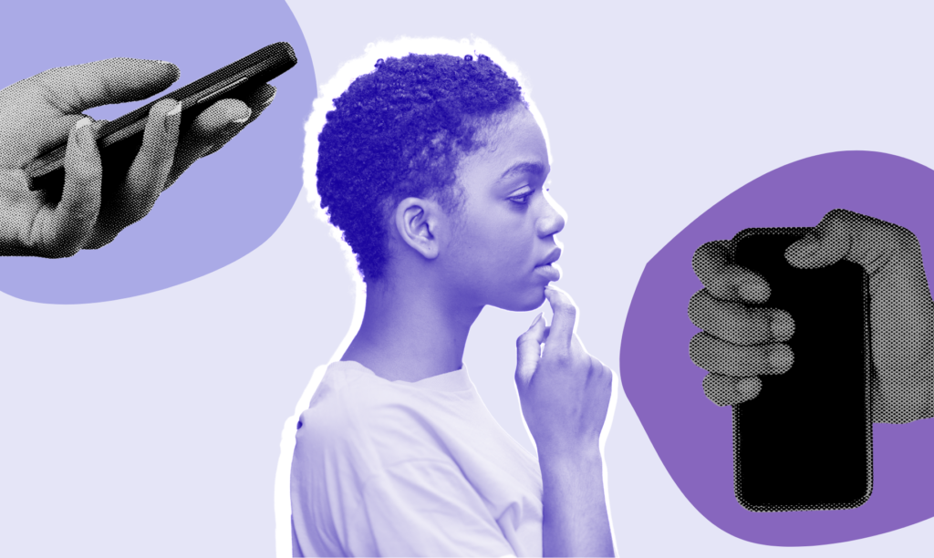 Image shows a black woman in the centre with two hands holding phones on either side of her for an article about the Clubhouse app.
