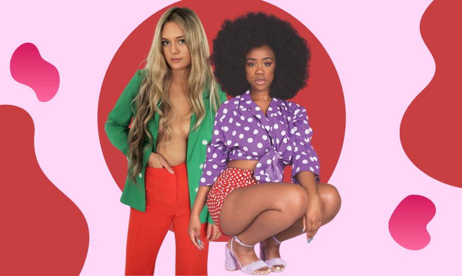 Image shows influencers Florence Given and Chidera Eggerue standing in front of a red and pink background