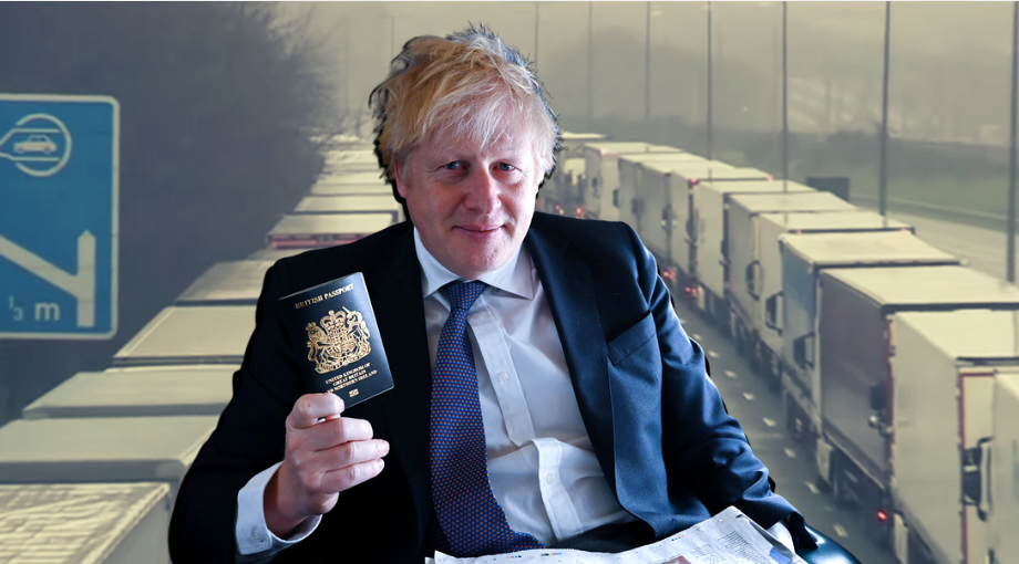 UK prime minister Boris Johnson is pictured holding up a blue British passport in front of lorry delays in Kent.