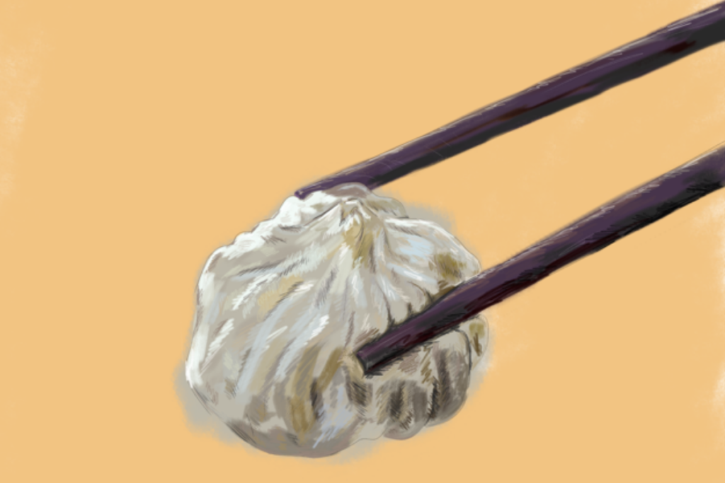an illustration of a dumpling in between chopsticks