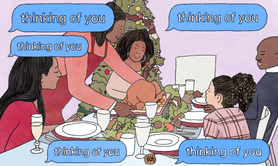 An image illustrating a family having Christmas, for an article about Christmas and grief.