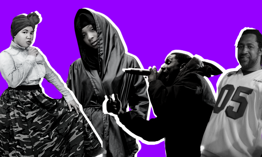 Against a purple backdrop, four black and white figures are superimposed. Representing a history of Islam and hip-hop, from left to right we see Miss Undastood, Alia Sharrief, Jay Electronica and DJ Kool Herc.